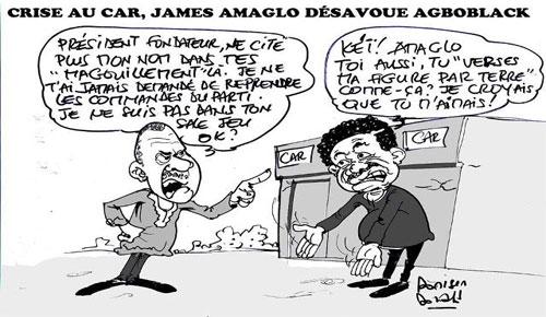 Le Dr. James Amaglo désavoue Me Agboyibo, le roublard patenté du Togo | Caricature : Donisen Donald / Liberté