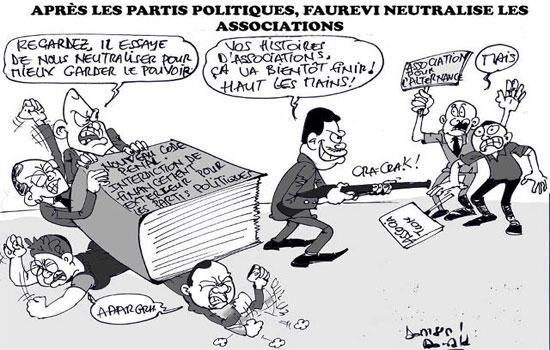 Après avoir mis K.O. les partis de l'«opposition», Faure Essozimna Gnassingbé veut anéantir les associations | Caricature : Donisen Donald / Liberté
