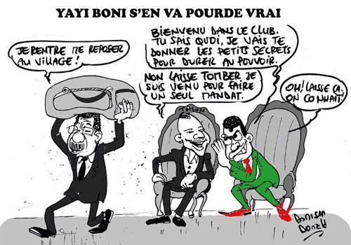 Alors que Boni Yayi s'en va après ses deux mandats au pouvoir comme la constitution béninoise l'exige et le nouveau président Patrice Talon est investit, le très « mal élu » togolais Faure Essozimna Gnassingbé a été poliment mis à sa place par le « bien élu » béninois. Aoutch ! | Caricature : Donisen Donald / Liberté