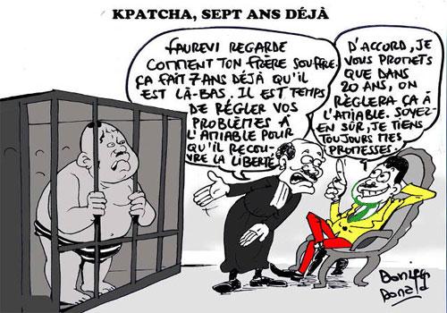 Kpatcha Gnassingbé toujours maintenu en prison par son frère Essozimna Gnassingbé | Caricature : Donisen Donald / Liberté