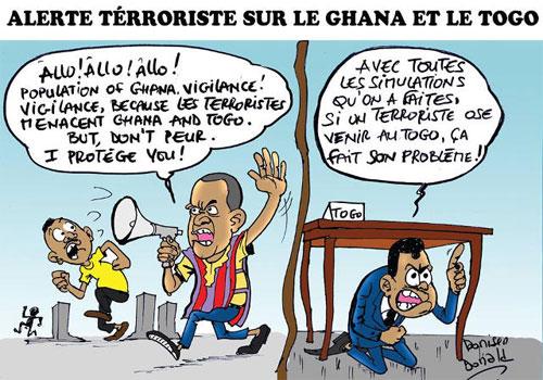 Menace entourée de secret d'Etat au Togo, pas de mesures spéciales…| Caricature : Donisen Donald / Liberté
