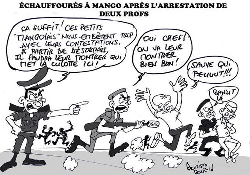 Nouvelles répressions barbares à Mango | Caricature : Donisen Donald / Liberté
