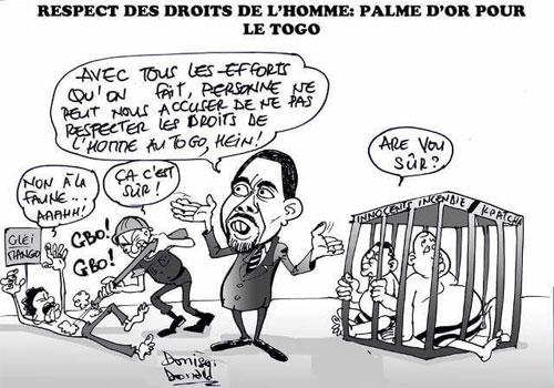 Pius Agbetomey dans ses oeuvres de « griotisme » | Caricature : Donisen Donald / Liberté