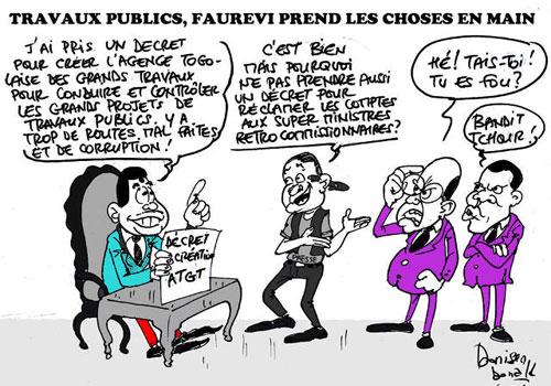 Faure-vi crée l'Agence de Déplacement des Problèmes de Corruption dans les BTP au Togo | Caricature : Donisen Donald / Liberté