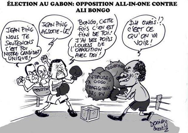 L'opposition gabonaise soutient Jean Ping contre Ali Bongo | Caricature : Donisen Donald