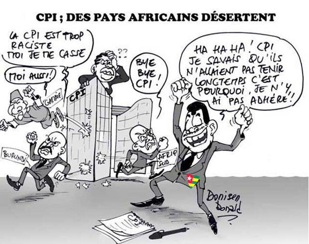 Faure Gnassingbé fait la bamboula en apprenant les retraits de la CPI des pays dirigés par des autocrates africains comme lui | Caric : Donisen Donald / Liberté