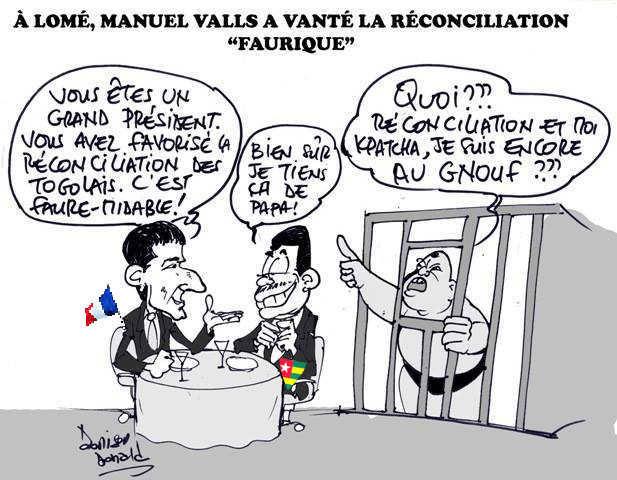 Manuel Valls et Faure Gnassingbé | Caric : Donisen Donald / Liberté