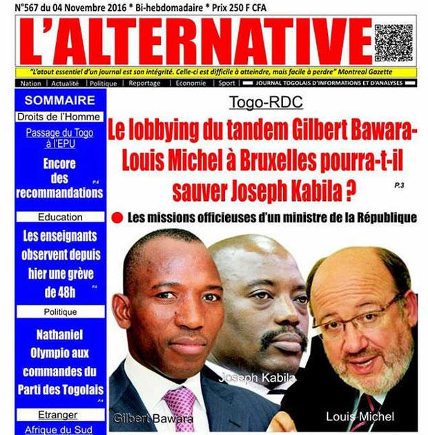 Extrait de La Une de L'Alternative No. 567 du 04/11/2016