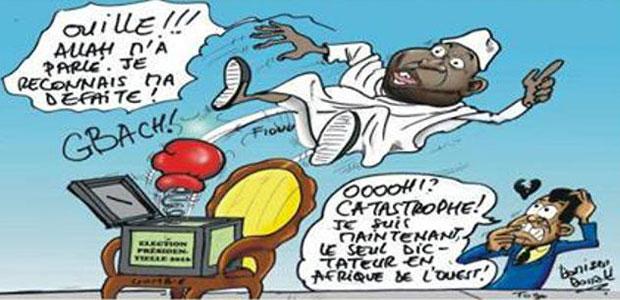 Le Gambien Yahya Jammeh s'en va. Seul le Togo Faure Gnassingbé reste une curiosité en Afrique de l'Ouest | Caricature : Donisen Donald / Liberté