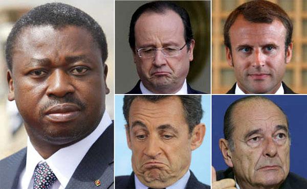 12 ans de règne de Faure Gnassingbé (g) au Togo et 4 présidents français au cours la même période. Jacque Chirac (b,d) 1995-2007; Nicolas Sarkozy (b,g) 2007-2012; François Hollande (h,g) 2012-2017; Emmanuel Macron 2017 – ? | Infog : 27avril.com