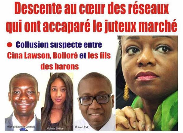 Cina Lawson (d) et quelques fils des barons du régime prédateur de Faure Gnassingbé | Extrait de la Une de l'Alternative
