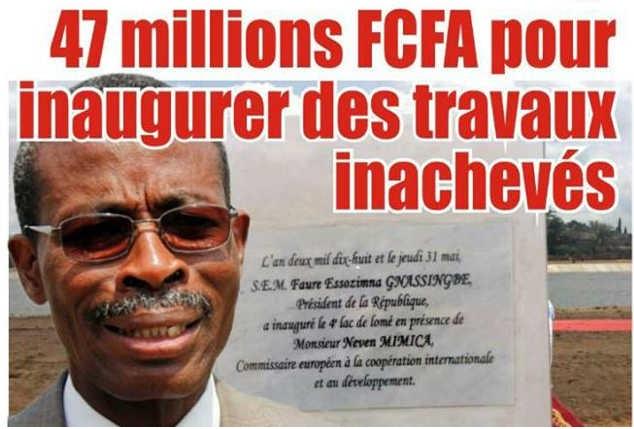 Togo, Assainissement, Réception du 4ème lac : 47 millions FCFA pour inaugurer des travaux inachevés. Fiatuwo Sessenou, expert en surfacturation