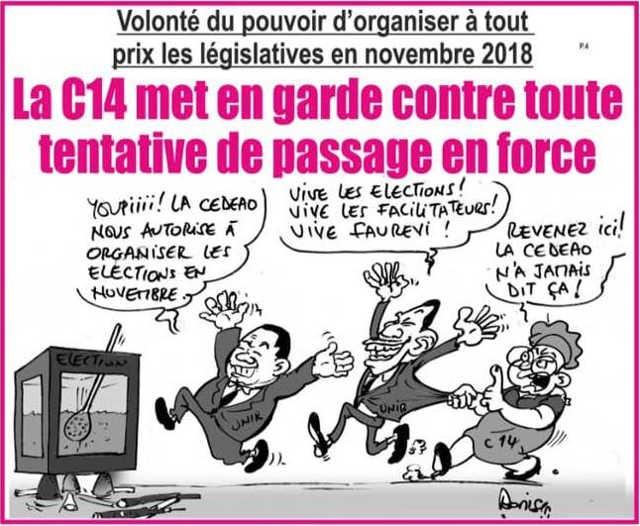 Togo/Volonté du pouvoir d'organiser à tout prix les législatives en novembre 2018 : La C14 met en garde contre toute tentative de passage en force