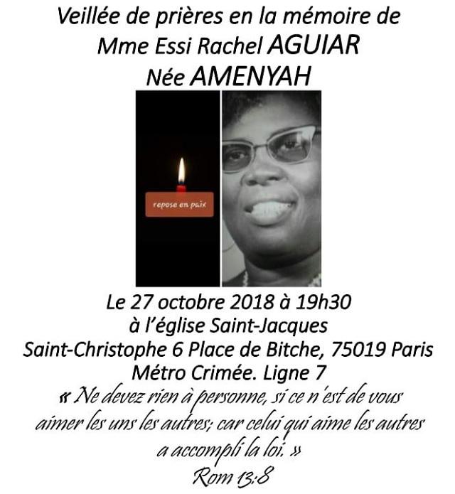 Veillée de prière en la mémoire de Mme AGUIAR Essi Rachel le 27 octobre 2018 à Paris