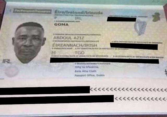 Passeport de l'Irlandais Abdou-Aziz Goma, illégalement détenu et torturé par le régime Faure Gnassingbé depuis le 21 décembre 2018 | Photo : DR