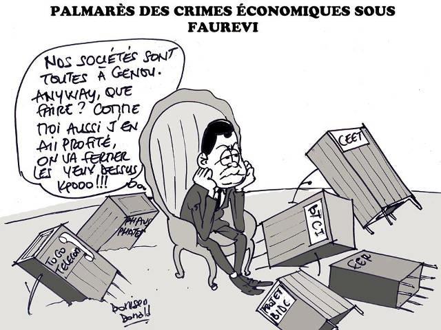 Faure Gnassingbé et ses scandales financiers et éléphants blancs | Caric : Donisen Donald