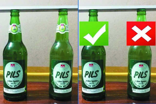 Différence entre la bonne bière Pils à gauche et la mauvaise bière Pils à droite | Photos : L'Indépendant Express
