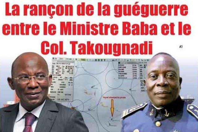 Le ministre-conseiller pour la mer Stanislas Baba (g) et le préfet maritime le col. Takougnadi Nayo | Extrait de la Une de L'Indépendant Express