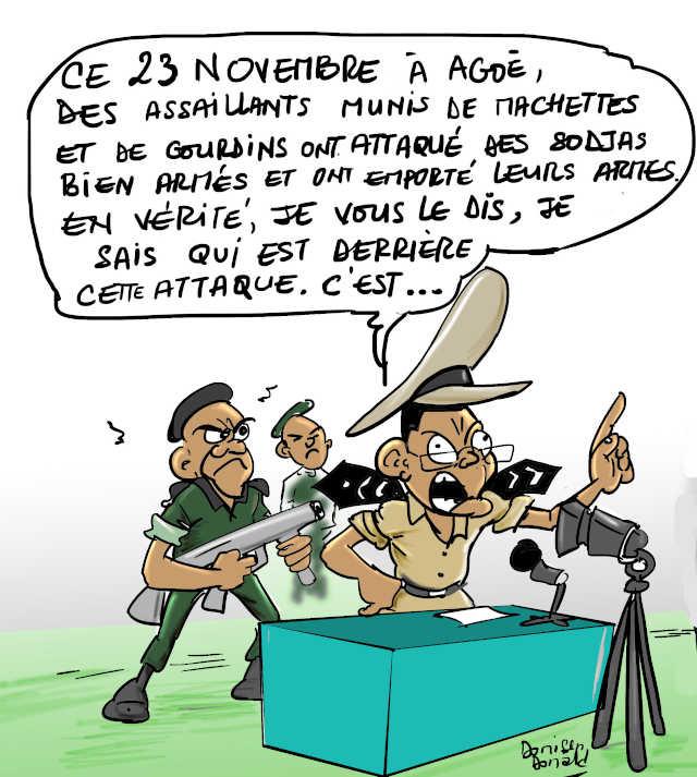Yark Damehame dans son rôle de prédilection : Mentir stupidement | Caricature : Donisen Donald / Liberté No3053, nov. 2019