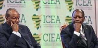 Alpha Condé de la Guinée (g) et Alassane Ouattara de la Côte d'Ivoire | Photo : DR